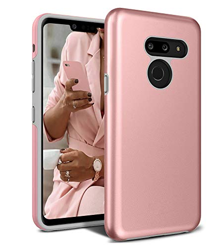 LG G8 ThinQ Case, Androgate [Pearl Series] Hybrid Matte Protective Back Cover Bumper Case for LG G8, Pink Gold ()