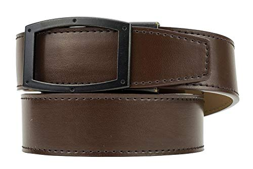 Nexbelt Apollo Antique Brown Espresso Leather Dress Belt for Men with Automatic Buckle Ratchet System Technology
