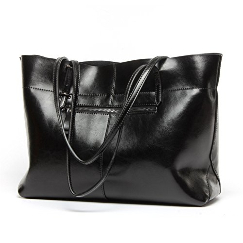 Large Black Handbag - Women's Leather Work Tote Large Shoulder Bag Top Handle Handbag Zipper Closure Black
