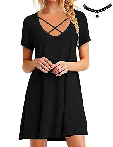 BUOYDM Mujer Vestido de Camiseta Shirt Manga Corta Casual Vestido Corto Túnica Camisa Largo Negro
