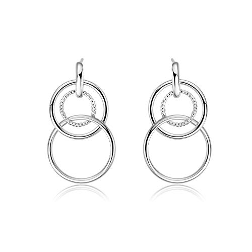 (YFN Sterling Silver Friendship for Eternity Earrings, Three Interlocking Infinity Circles Gift for Best Friend (Interlock Circle Earrings))