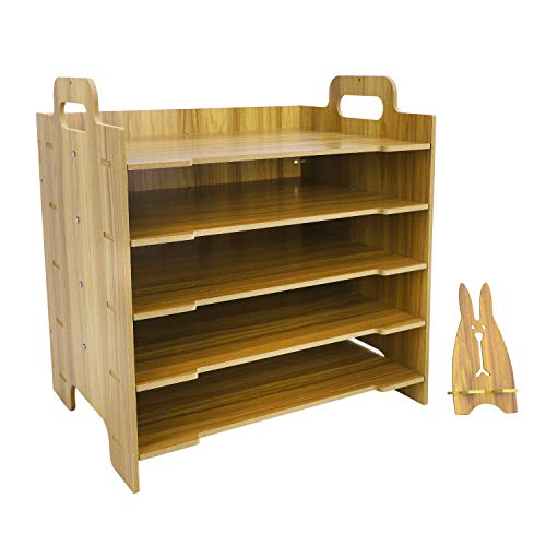 Organizador de escritorio DIY de madera, estanteria de almacenamiento con 4 compartimentos, caja de almacenamiento de archivos, modulo de archivo, archivador de documentos A4