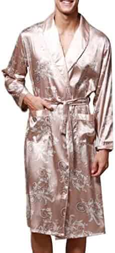 Cromoncent Mens Long Sleeve Printed Satin Silky Cozy Casual Thin Robe