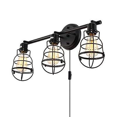 Stepeak Industrial Vanity Lights,3-Light Bird Cage Wall Fixture,Indoor Sconce Rustic Farmhouse Lighting Fixtures