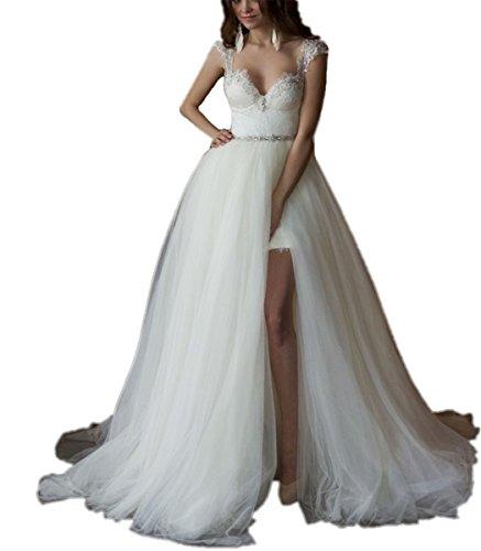 Tsbridal Detachable Train Wedding Dress 2018 Lace Wedding DressesIvory-US10 Detachable Train
