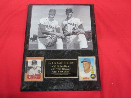 Tom Seaver Nolan Ryan 2 Card Collector Plaque w/8x10 VINTAGE Photo WOW!