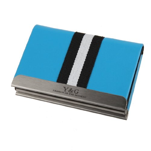 Italian Leather Tie Case (YDC02A01 Blue Leather Elastic Card Case Working Day Gift By Y&G)