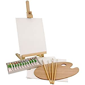 US Art Supply 21-Piece Wood Studio Table Easel & Paint Box Set with 12 Paint Colors, Canvas Panels, Brushes, Wood Palette (Acrylic Paint Kit)