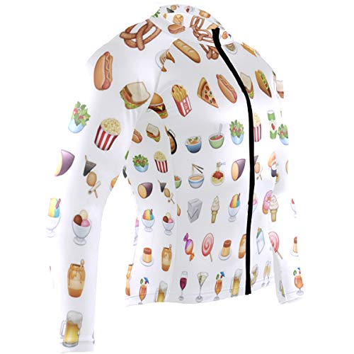 Food Emoji Mens Cycling Jersey Shirts Full Sleeve Road Bicycle Skinsuits Outfit