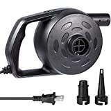Etekcity Electric Air Pump High Power Quick-Fill Air Mattress Pump Inflator Deflator for Inflatables Raft Bed Boat Pool Toy with Nozzles, 110-120V, Black