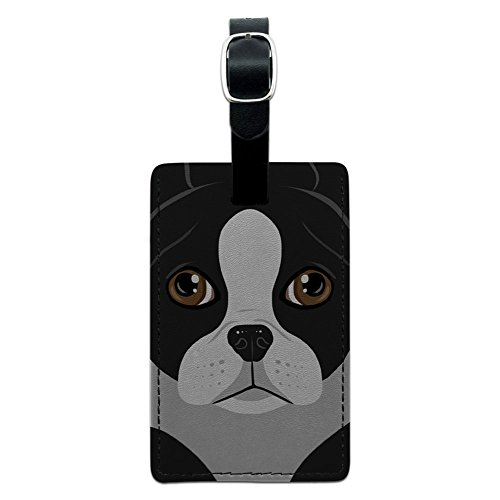 Graphics & More Boston Terrier Dog Pet Leather Luggage Id Tag Suitcase Carry-on, Black
