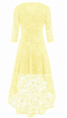 Women Coolred Lace Fit Cocktail Dress Vintage Elegant Solid Irregular Beige d1xqr1w