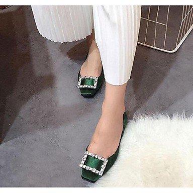 Cómodo y elegante soporte de zapatos de las mujeres pisos primavera verano otoño otros seda vestido Casual soporte de talón rhinestone negro verde rojo Walking verde