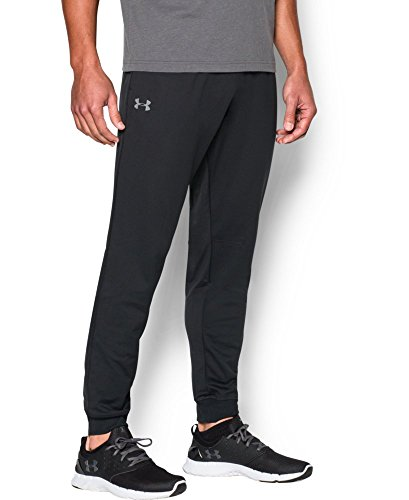 Under Armour Men's Tricot Pants - Tapered Leg, Black/Black, Medium
