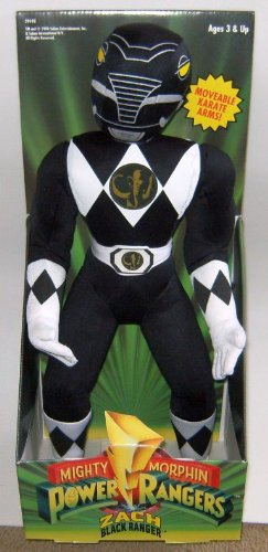 Mighty Morphin Power Rangers 16  Plush   Black Ranger Figure With Moveable Karate Arms
