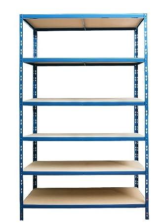 Steckregal 220x120x30 cm blau mit 6 B/öden 175 kg Traglast//Boden