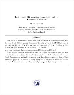 Math 241 - Complex Manifolds - Spring 2011