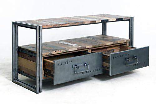 Mueble TV 2 cajones 112 x 40 x 55 Estilo Industrial de ...