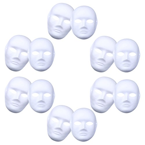 Coxeer 12Pcs Costume Mask Plain Paper DIY Cosplay Mask Full Face Dance Mask for Cosplay Party ()