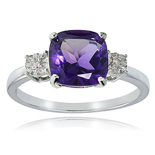 Ice Gems Sterling Silver African Amethyst and Cushion-Cut Ring, Size 5