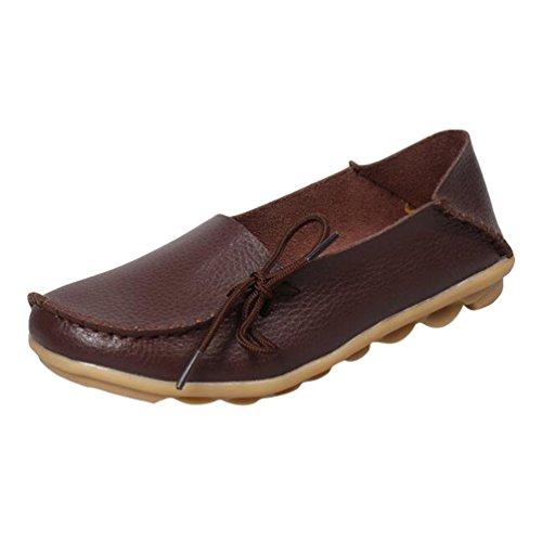 Heheja Mujer Mocasines de Cuero Loafers Casual Piso Zapatos Zapatillas con Bowknot Café