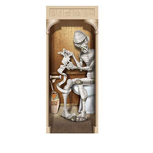(Club Pack of 12 Halloween Brown Mummy Restroom Door Cover Decoration)