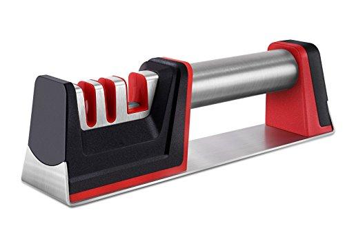 Knife Sharpener, Manual Knife Scissors Sharpener, Professional 3 Stage Diamond Sharpening System Helps Repair, Restore and Polish Blades