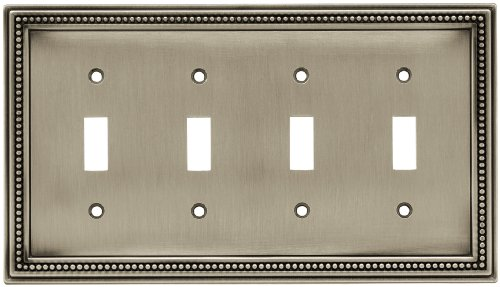 Quad Switch Wall Plate - BRAINERD 64774 Beaded Quad Toggle Switch Wall Plate / Switch Plate / Cover, Brushed Satin Pewter