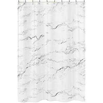 Sweet Jojo Designs Modern Grey Black And White Marble Bathroom Fabric Bath Shower Curtain