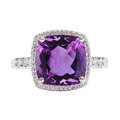 NATALIA DRAKE Cushion Cut Amethyst & White Sapphire Halo Diamond Fashion Cocktail Ring (9)