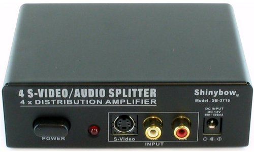 Shinybow 1x4 (1:4) 4-Way S-Video + Stereo Analog R/L Audio Splitter Distribution Amplifier SB-3716 by Shinybow (Radio Splitter Shack)