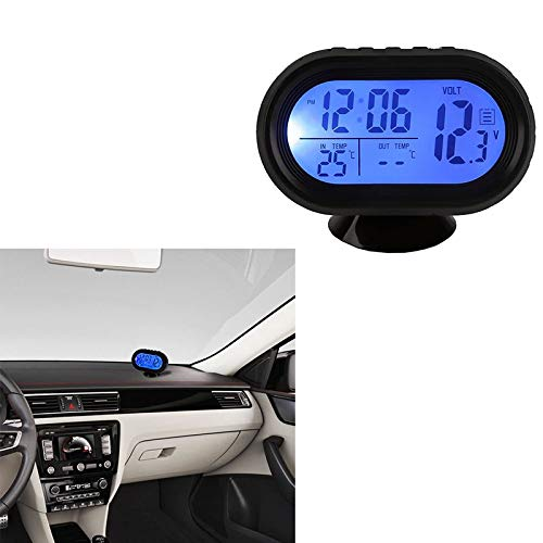 DEBEME Autoinnenausstattung 12V-24V Auto digitale LCD-Thermometer Uhr Voltmeter Thermometer Batteriespannung Temperatur f/ür das B/üro zu Hause