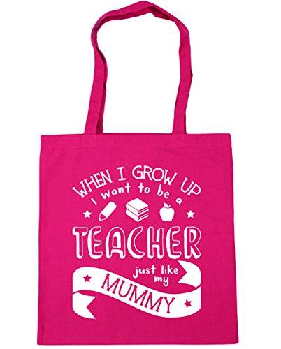HippoWarehouse WHEN I Grow Up I Want To Be A profesor Just Like My Mummy bolsa de la compra bolsa de playa 42cm x38cm, 10litros fucsia