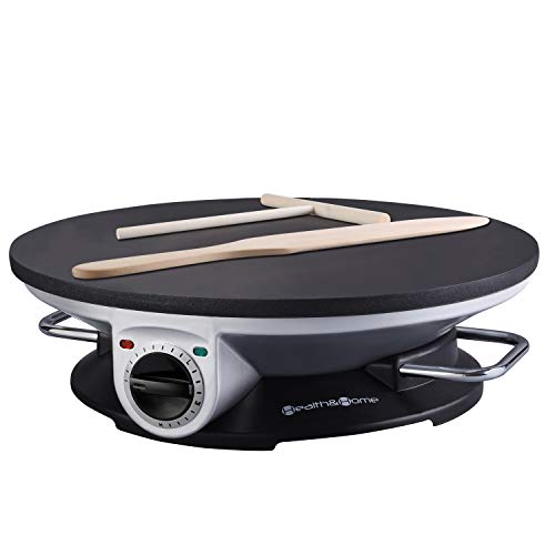 - Health and Home No Edge Crepe Maker - 13 Inch Crepe Maker & Electric Griddle - Non-stick Pancake Maker- Waffle Maker- Crepe Pan