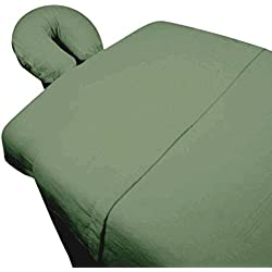 Massage Table Sheet Set 3 Piece Microfiber Machine Washable Includes Fitted Face Cradle Cover - Sage