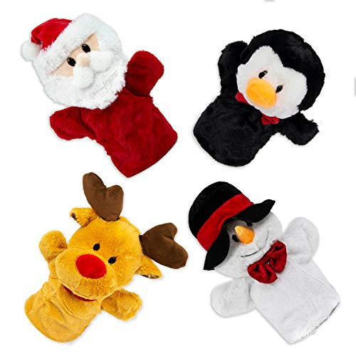 Beverly Hills Teddy Bear Christmas Puppets - Plush Santa Claus, Rudolph, Snowman, and Penguin - Hand Puppets for Kids - Stuffed Holiday Decorations (Rudolph Penguin)