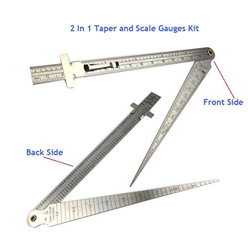 Hi-Lo Welding Gauge Gage Test Ulnar Welder Inspection Gauge Tool Both Inch and Metric for Welding Measurement Tools Breynet 1-15mm Stainless Gap Hole Taper Welding Gauge