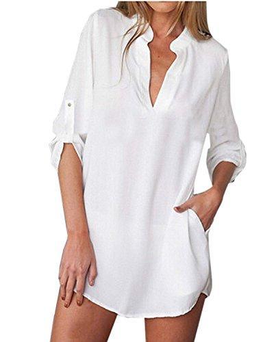 Blanc Top Chemise Mousseline Manches Blouse Longues Tunique Yidarton Col V Robe Femme wqPn41x