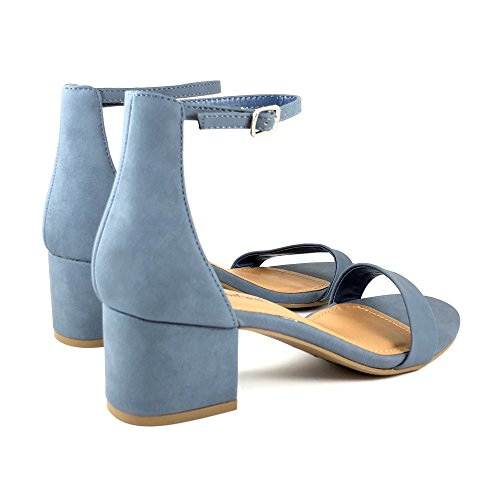 Women's Open Toe Block Sandals Mblue Heeled Ankle Strap City Classified URvqvxf