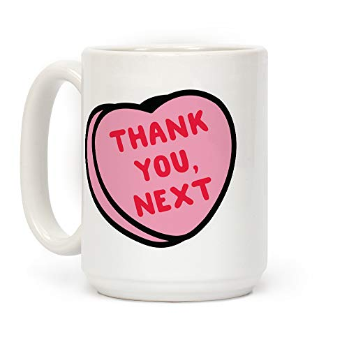 LookHUMAN Thank You Next Pink Candy Heart White 15 Ounce Ceramic Coffee Mug