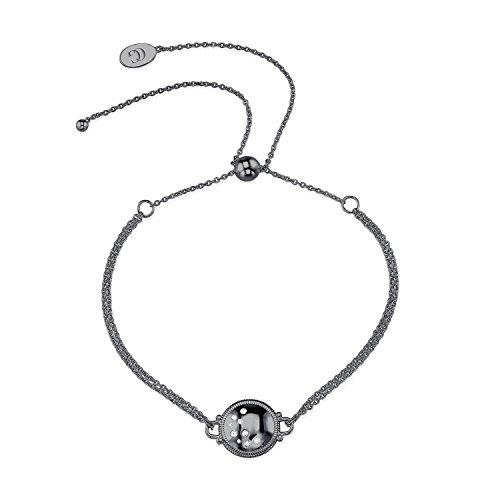 CHARLIZE GADBOIS Sterling Silver Diamond Disk Bracelet (0.055 cttw, I1-I2 Clarity) Gunmetal Nano Coated by Gadbois Jewelry
