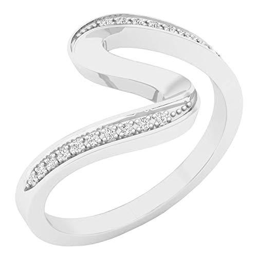 0.05 Carat (ctw) 10K White Gold Round Diamond Ladies Wave Style Fashion Right Hand Ring (Size 9)