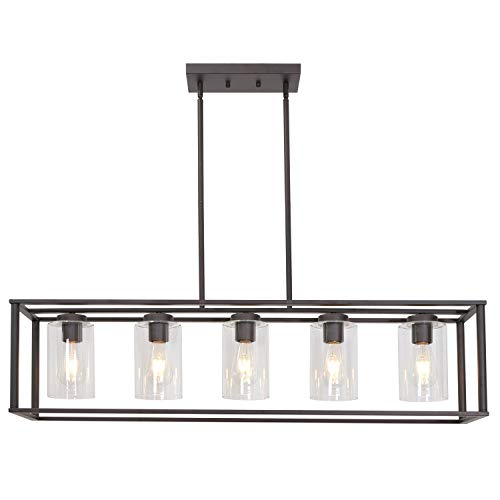 - VINLUZ 5-Light Kitchen Island Chandeliers Oil Rubbed Bronze Modern Linear Cage Pendant Lighting with Clear Glass Shades Farmhouse Ceiling Light Fixtures Hanging for Dining Room Living Room