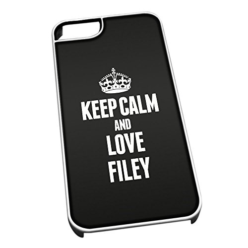 Bianco cover per iPhone 5/5S 0259nero Keep Calm and Love Filey