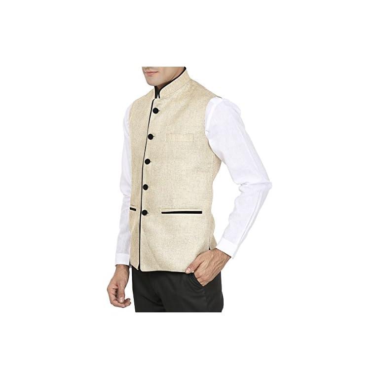 41UDOg9cAgL. SS768  - WINTAGE Men's Rayon Bandhgala Festive Nehru Jacket Waistcoat - 2 Colors