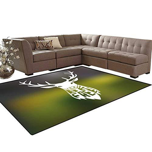 Hunting Decor Kids Carpet Play-mat Rug Deer Head with Horns Concept Artwork Be Free Motivational Phrase Stag Nature Room Home Bedroom Carpet Floor Mat 6'6