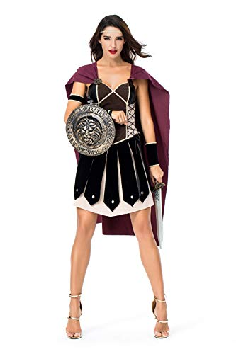 Women's Spartan Female Warrior Ancient Roman Arena Gladiator Halloween Cosplay Fancy Dress Costume Coffee