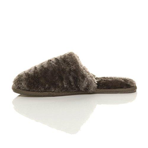 Ajvani - Zapatillas de estar por casa de Material Sintético para mujer moca