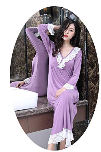 bd6b1fd2c84 Little Happiness Spring Autumn Women Nightgown Cotton Lace Lingerie Sexy  Home Dress Sweet Nightgown Pajamas,Purple,M