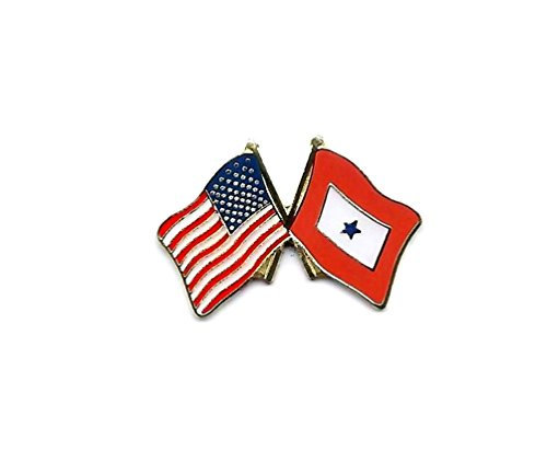 Blue Star Flag USA Flag Crossing Deluxe Lapel Hat Pin Military (1 Pin) Blue Usa Pin